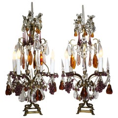 Pair of 19th-20th Century Florentine Cut-Glass Fruit Girandole Table Lamps