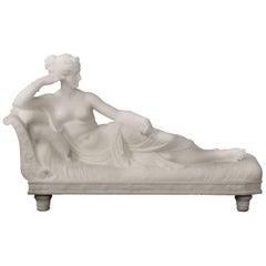Italian Carrara Marble Depicting Paolina Borghese as Venus Victrix, Romanelli