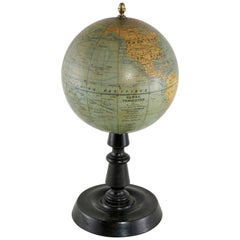 French Terrestrial Globe on Ebonized Wood Base by Cartographer J. Forest