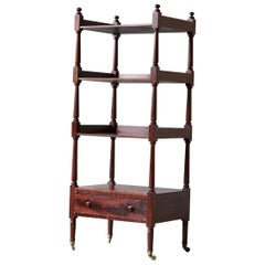 Early 19th Century George IV Mahogany Whatnot with Four Shelves and Drawer