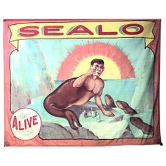 """Fred Johnson-O Henry Tent and Awning, Chicago Side Show Circus Banner """"Sealo"""""""