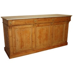 19th Century Marble-Top French Kitchen Island