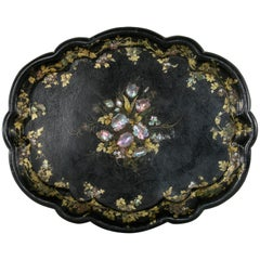 Mid-19th Century English Victorian Period Papier Mâché Tray with Mother-of-Pearl