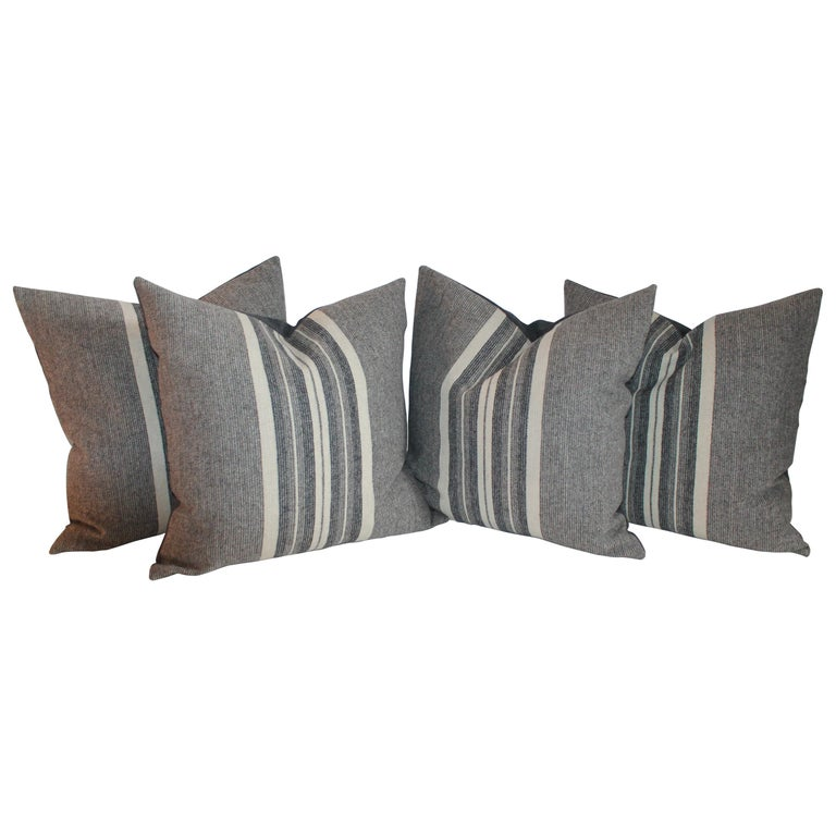 Wool Stripe Blanket Pillows Collection, Four