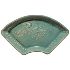 Early 20th Century Chinese Celadon Fan Form Dish