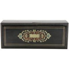 19th Century French Napoleon III Black Lacquer Box with Bronze Inlay