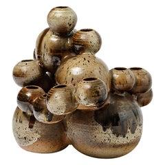 Stoneware Vase, Sculpture with Brown Glaze by François Guesneau, circa 1970