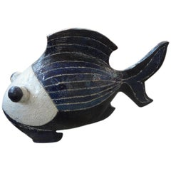 Midcentury Studio Art Pottery Fish Sculpture
