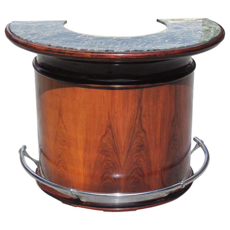 Spectacular French Art Deco Macassar Ebony Semicircle Dry Bar, circa 1940s For Sale