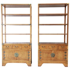 Michael Taylor for Baker Far East Collection Burl Wood Wall Units, Pair