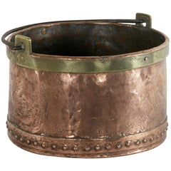 Large 19th Century French Riveted Copper Cauldron with Brass Banding and Handle