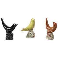 Set of Three Ceramic Birds by Pol Pouchol, circa 1950-1960