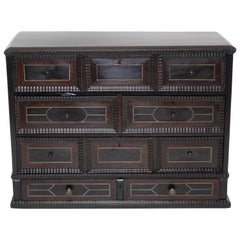 Ebony and Rosewood Collectors Tabletop Cabinet, Dutch, 19th Century