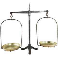 Set of Large Late 19th Century French Iron Scales with Brass Pans from Normandy