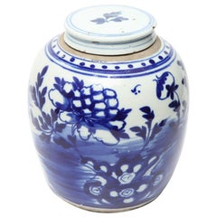 Chinese Qing Dynasty Underglaze Blue and White Porcelain Ginger Jar