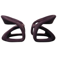 Pair of Sculptural Cantilever Chairs with Ottoman Memphis Style