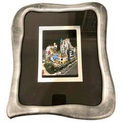 Rare Print by Hundertwasser Haus in Aluminum Foil Framed