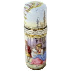 """Antique French Hand-Painted Enamel .800 Fine Silver """"Lipstick"""" Perfume Bottle"""