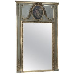 19th Century French Louis XVI Painted and Gilt Trumeau, Mirror