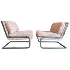 Chrome Cantilever Lounge Chairs, 1970s