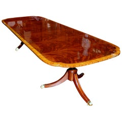 Bench Made Reprod, Inlaid Flame Mahogany Sheraton Style Three Leaf Dining Table