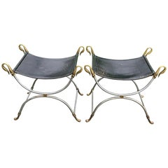 Pair of Leather Seat Stools, Steel Frame with Brass Swans, Maison Jansen, France