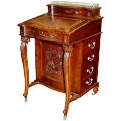 Antique English Carved Mahogany Davenport/ Ship Captain's Desk with Leather Lid