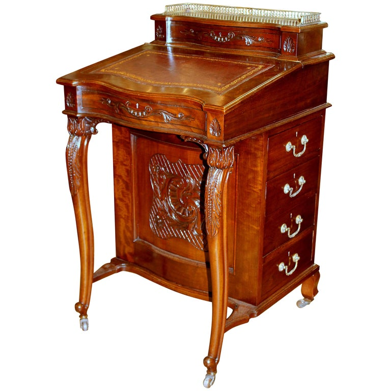 Antique English Carved Mahogany Davenport/ Ship Captain's Desk with Leather  Lid For Sale - Antique English Carved Mahogany Davenport/ Ship Captain's Desk With