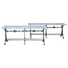 Antique French Cast Iron and Marble Cafe, Sofa Tables