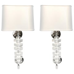 Pair of 1970s Lucite and Chrome Wall Sconces