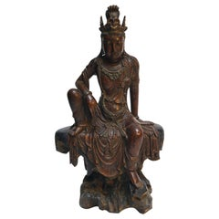 Cottonwood Lacquered Quan Yin from Shanxi Province, China, 19th Century