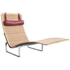 Poul Kjærholm PK 24 Chaise Longue with Wicker Seat for Fritz Hansen
