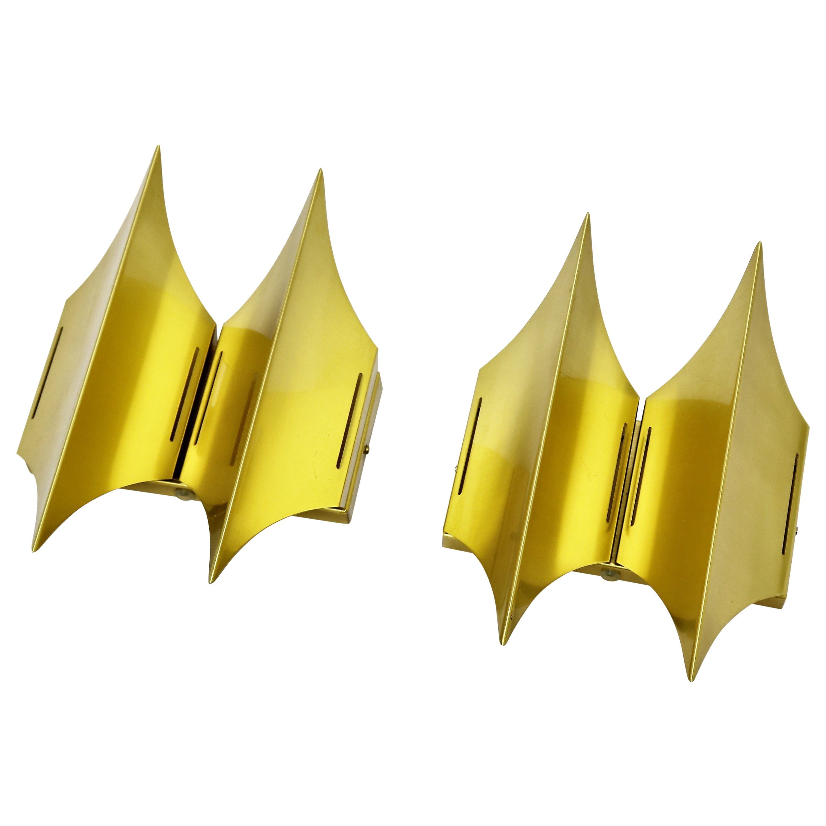 Scandinavian Modern Brass Wall Sconces from the 1960s by LYFA, model Gothic II