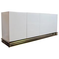 Minimalist Sideboard White Lucite Triple Band Brass Base, circa 1970