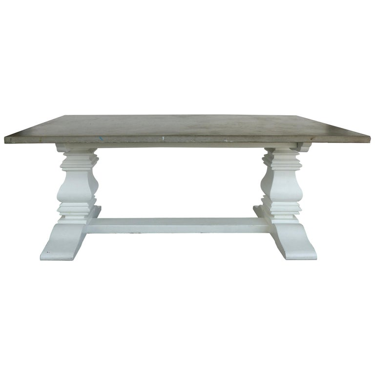 Polished Concrete Slab Dining Table With Painted Wood Base For