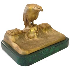 Dore Bronze Eagle Motif Inkstand