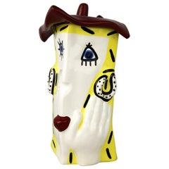 Funky Fun Face Ceramic Cookie Jar by Jerilynn Babroff