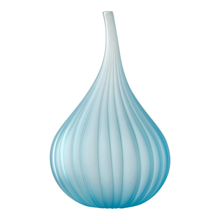 Salviati Drops Large Glass Vase In Teal By Renzo Stellon For Sale At