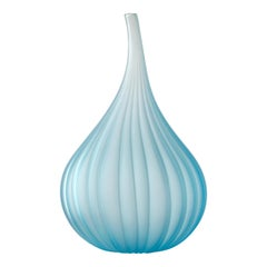 Salviati Drops Vase in Satin Teal Glass by Renzo Stellon