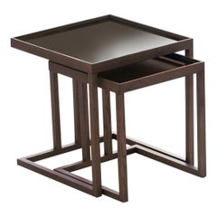 Pacini & Cappellini Pair of Ambo Coffee Tables in Lacquered Mocha Ash