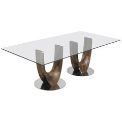 Pacini & Cappellini Axis Rectangle Dining Table in Glass & Wood by Stefano Bigi
