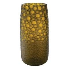 Salviati Large Battuti Vase in Yellow Glass