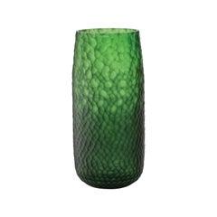 Salviati Large Battuti Vase in Green Glass