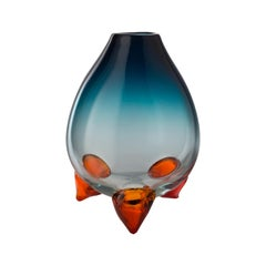 Salviati Large Abisso Vase in Green and Orange Glass