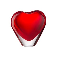 Salviati Large Cuore Vase in Red Glass by Maria Christina Hamel