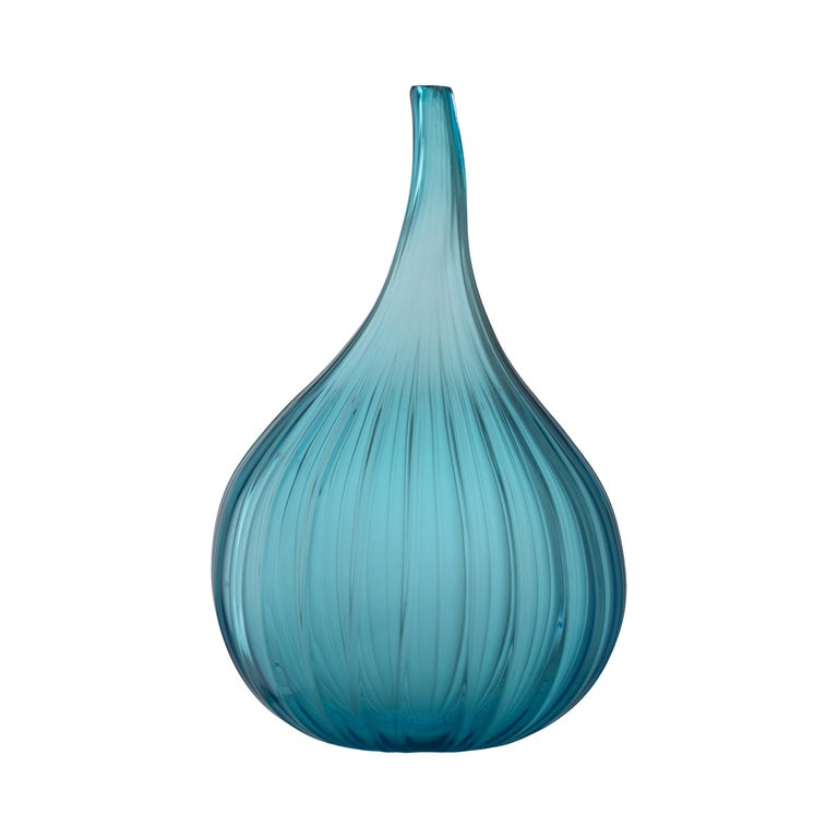 Salviati Small Drops Vase In Teal Glass By Renzo Stellon For Sale At