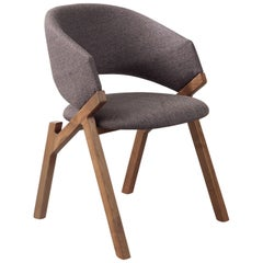 Pacini & Cappellini Byron Chair in Brown with Ash Legs by Riccardo Giovanetti