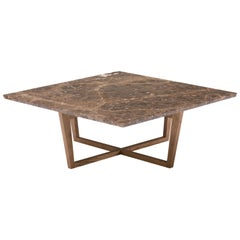 City Square Coffee Table in Brown Marble and Wood by Pacini & Cappellini