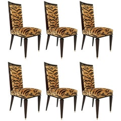 Fine Set of Six Art Deco Ebony De Macassar Dining Chairs