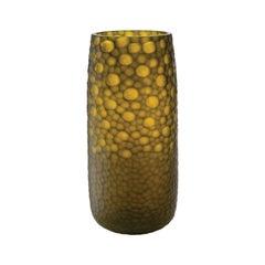 Salviati Battuti Vase in Yellow Glass